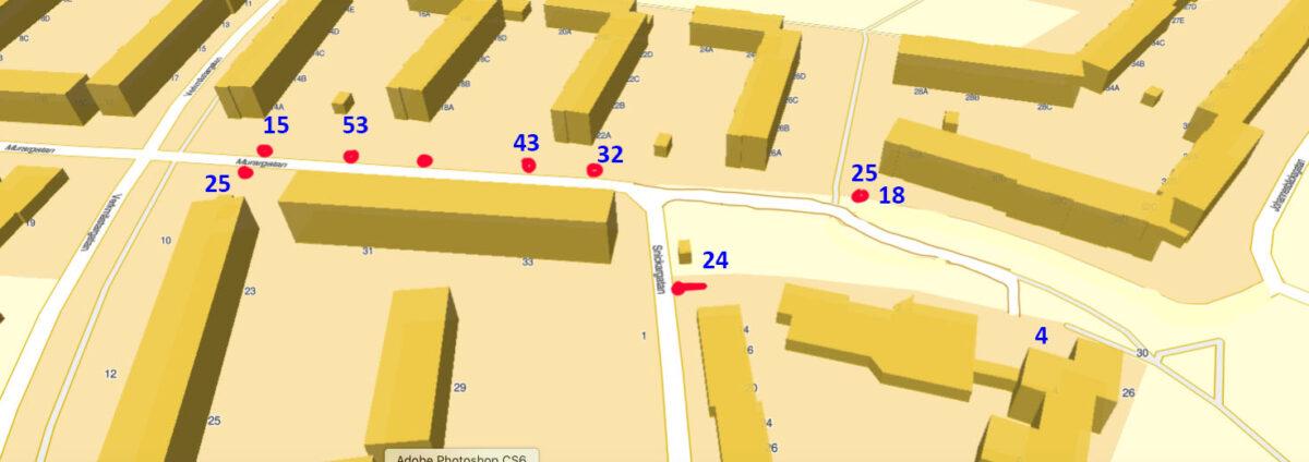 Östra Murargatan, antal bilplatser
