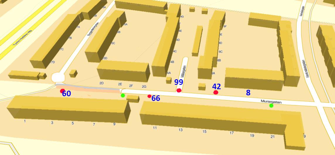 Västra Murargatan, antal bilplatser