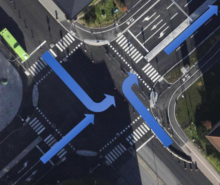 Bara ett körfält i taget från vardera håll kan köra in på Strandbodgatan under järnvägen