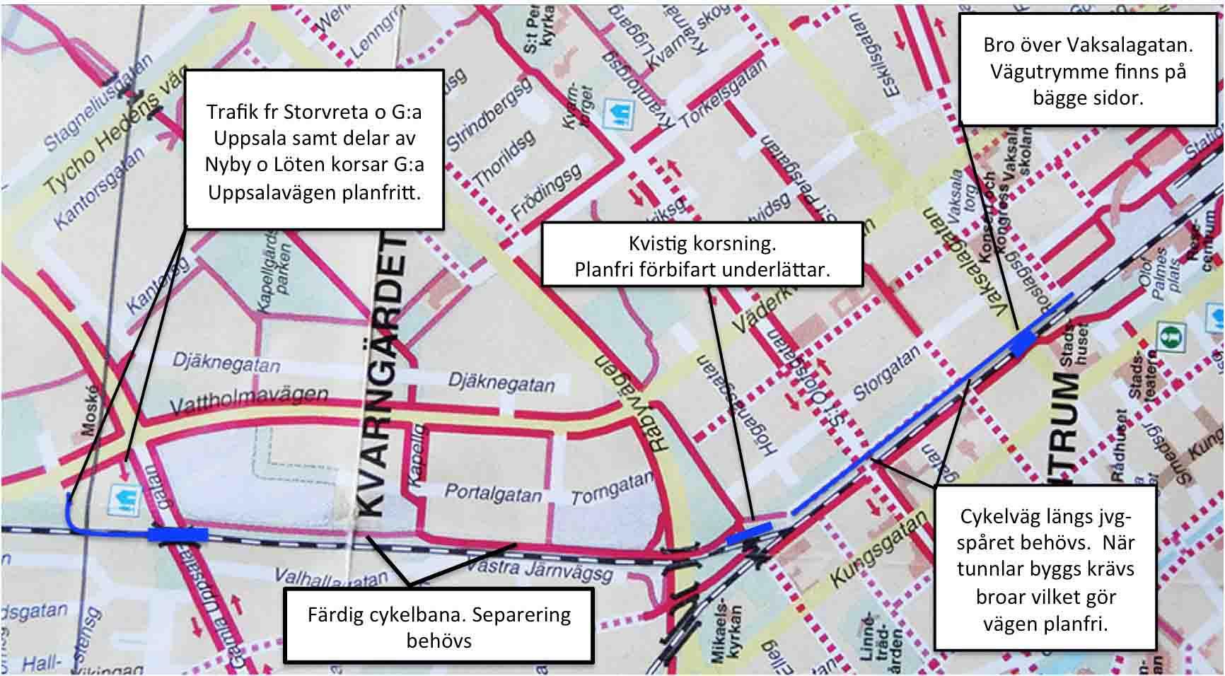 karta över cykelled läng järnvägen norrut