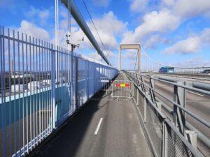 Hinder på Älvsborgsbrons gång- och cykelbana. Foto Christer Gustavsson