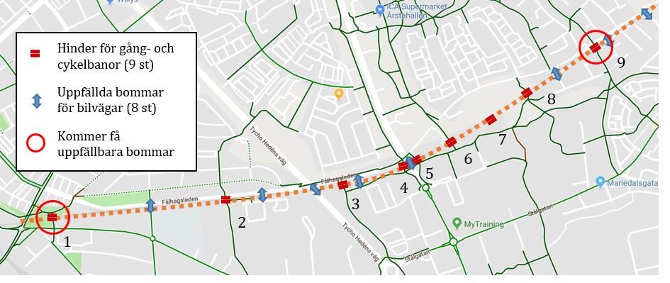 Karta över passagerna längs Lennakatten i Uppsala