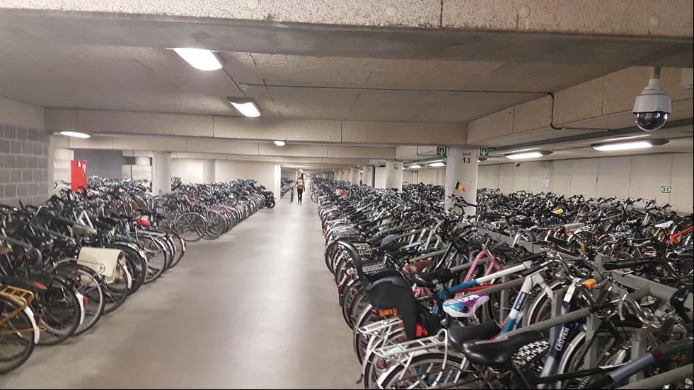 Lång källare med cykelparkering