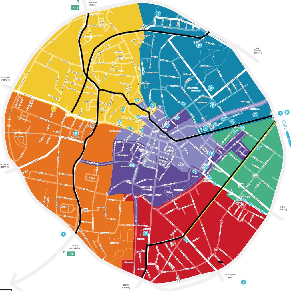 Karta visar trafikzonerna i olika färger, som delar upp innerstaden i olika tårtbitar.