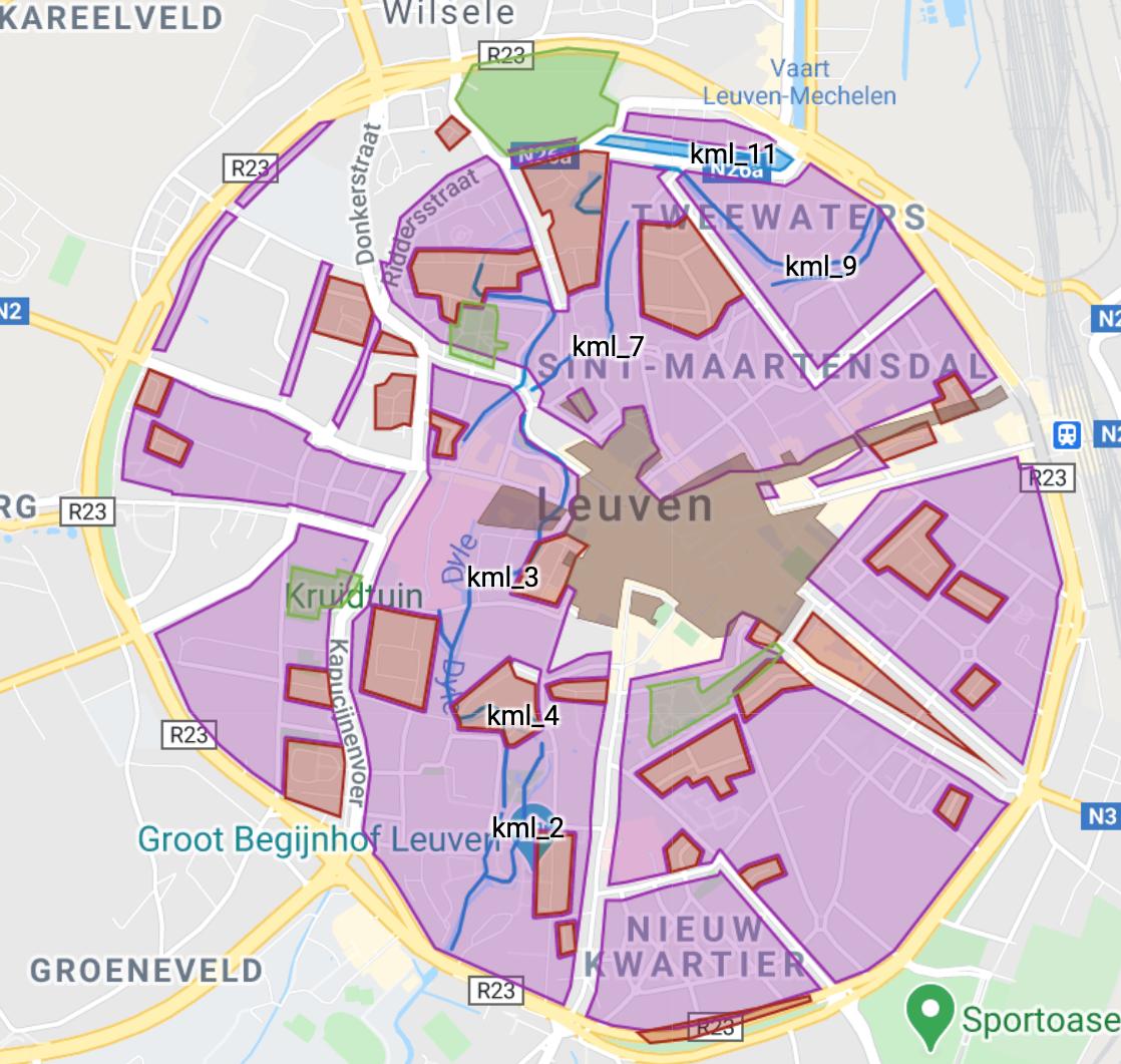 Karta som visar cykelgator, gågator i Luevens innerstad