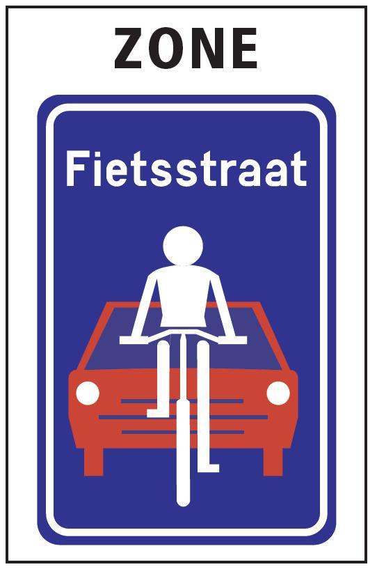 Vägskylt som stiliserat visar en cyklist i vitt framför en bil i rött