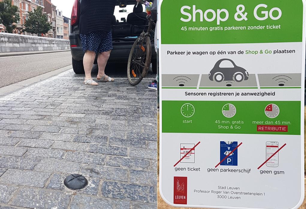 Montage: Sensor i marken för Shop & Go-parkering, samt skylt därom.